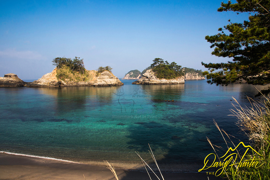 Dogashima lagoon and sea stacks.  The crystal clear water of the Izu Peninsula has made it a popular destination  for scuba diving.
