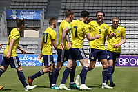Scotland U21's congratulate Oliver Burke after scoring their second goal during South Korea Under-21 vs Scotland Under-21, Tournoi Maurice Revello Football at Stade Parsemain on 2nd June 2018