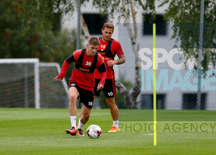 David Brooks of Sheffield Utd and Billy Sharp of Sheffield Utd during the Sheffield Utd training session at the Shirebrook training complex, Sheffield. Picture date: 2nd September 2016. Picture Simon Bellis/Sportimage