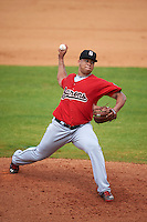Birmingham Barons pitcher Frankie Montas (47) delivers a pitch during a game against the Biloxi Shuckers on May 24, 2015 at Joe Davis Stadium in Huntsville, Alabama.  Birmingham defeated Biloxi 6-4 as the Shuckers are playing all games on the road, or neutral sites like their former home in Huntsville, until the teams new stadium is completed in early June.  (Mike Janes/Four Seam Images)