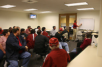 27 October 2005: John Dunning gives a chalk talk to his booster club during Stanford's 3-0 win over Oregon at Maples Pavilion in Stanford, CA.