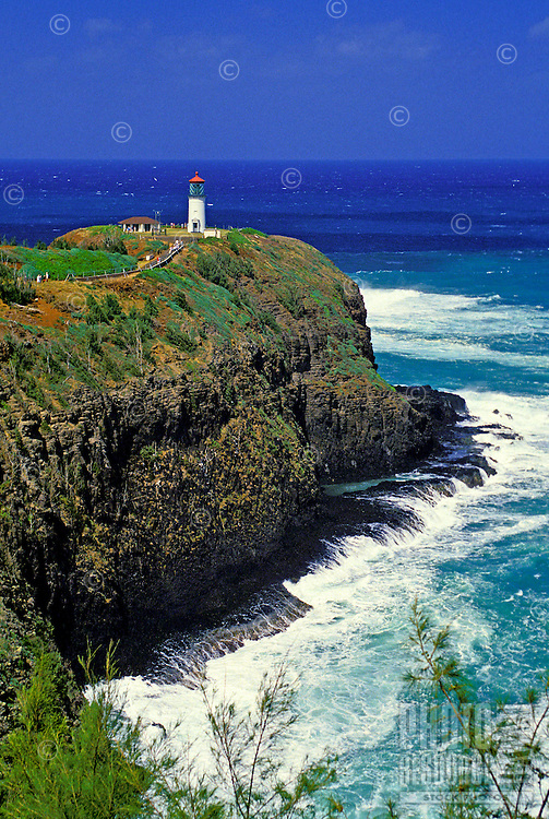 Kilauea Lighthouse on the spectacular lush north shore coastline of Kauai.