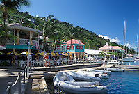 Tortola, West End, British Virgin Islands, Caribbean, BVI, Sopers Hole, Pusser's Landing on the waterfront of Frenchman's Cay on the island of Tortola.