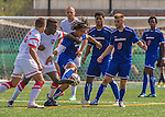 5 September 2014: University of Massachusetts River Hawks Backfielder Carlos Ruiz, a Sophomore from East Boston, MA, in action against the St. Francis College Terriers at Virtue Field in Burlington, Vermont. The River Hawks defeated the Terriers 3-1, on their way to finishing the Morgan Stanley Smith Barney Windjammer Classic Men's Soccer Tournament with a 2-0 record, and being crowned as tournament champions on goal differential. Mandatory Credit: Ed Wolfstein Photo *** RAW (NEF) Image File Available ***