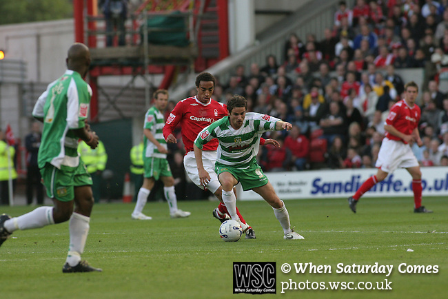 Nottingham Forest 2 Yeovil Town 5, 18/05/2007. City Ground, League One Play Off Semi Final 2nd Leg. Yeovil Town's midfielder Aaron Davies in action against Nottingham Forest in the League One play-off semi-final match at the City Ground. Forest had won the first leg by 2 goals to nil at Yeovil the previous week but were defeated by 5 goals to 2 after extra time and missed out on the play-off final at Wembley. Yeovil went on to play Blackpool in the final for the one remaining promotion place to the Championship. Photo by Colin McPherson.