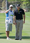 August 3, 2012: Ricky Barnes from Phoenix, AZ talks over a shot with his caddy on the 14th hole during the second round of the 2012 Reno-Tahoe Open Golf Tournament at Montreux Golf & Country Club in Reno, Nevada.