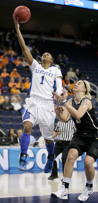 UK guard A'dia Mathies goes for a lay-up during the first half of the University of Kentucky women's basketball game vs. Vanderbilt University during the SEC tournament The Arena at Gwinnett Center in Duluth, Ga. on Friday, March 8, 2013. UK won 76-65. Photo by Genevieve Adams | Staff