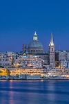 Europe, Malta, Valletta,  Historic Skyline at Dusk