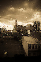 downtown Birmingham, Alabama through a rainy window