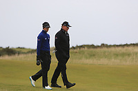 Thomas Detry (BEL) and Ernie Els (RSA) on the 15th during round 4 of the Alfred Dunhill Links Championship at Old Course St. Andrew's, Fife, Scotland. 07/10/2018.<br /> Picture Thos Caffrey / Golffile.ie<br /> <br /> All photo usage must carry mandatory copyright credit (&copy; Golffile | Thos Caffrey)