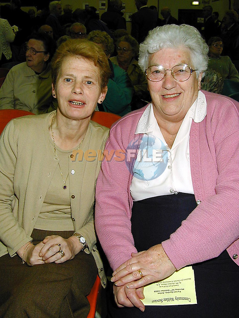 Maraget Reilly and Tessie Lennon at the 1999 UN Year of Older Persons Information Day in The Parish Centre, Ardee..Picture Paul Mohan Newsfile