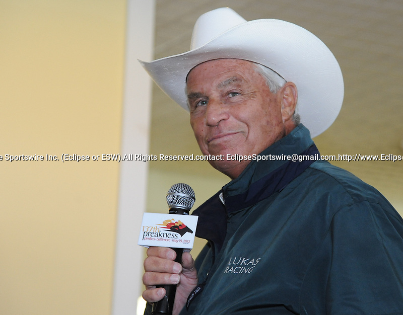 D. Wayne Lukas talks about the chance of Optimizer at the Alibi Breakfast at Pimlico Race Course in Baltimore, Maryland  on May 17, 2012 as Bob Baffert