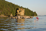 Kayaking on Chuckanut Bay in Larrabee State Park.  Near Bellingham, Washington