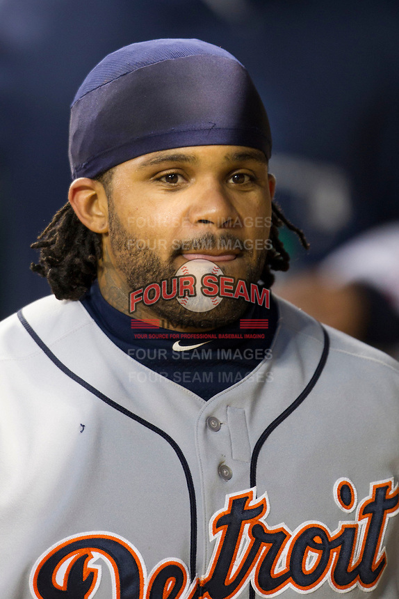 Detroit Tigers first baseman Prince Fielder (28) in the dugout during the MLB baseball game against the Houston Astros on May 3, 2013 at Minute Maid Park in Houston, Texas. Detroit defeated Houston 4-3. (Andrew Woolley/Four Seam Images).