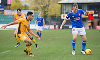 Danny Grainger of Carlisle takes on Jazzi Barnum-Bobb of Newport County during the Sky Bet League 2 match between Newport County and Carlisle United at Rodney Parade, Newport, Wales on 12 November 2016. Photo by Mark  Hawkins.