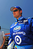 Apr 25, 2009; Talladega, AL, USA; NASCAR Sprint Cup Series driver Juan Pablo Montoya during qualifying for the Aarons 499 at Talladega Superspeedway. Mandatory Credit: Mark J. Rebilas-