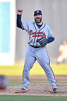 Rome Braves pitcher Jason Motte (49) delivers a pitch during a Major League Rehabilitation against the Asheville Tourists at McCormick Field on July 29, 2017 in Asheville, North Carolina. The Braves defeated the Tourists 7-3. (Tony Farlow/Four Seam Images)