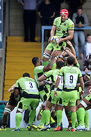 High Wycombe, England. Christian Day of Northampton Saints wins the line out during the Aviva Premiership match between Wasps and Northampton Saints at Adams Park on September 14, 2014 in High Wycombe, England.