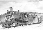3/4 fireman's-side view of D&amp;RGW #315 with caboose 0577 and stock car.<br /> D&amp;RGW