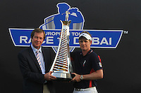 Luke Donald (ENG) winner of the race to Dubai with European tour CEO George O'Grady on the final day of the DUBAI WORLD CHAMPIONSHIP presented by DP World, Jumeirah Golf Estates, Dubai, United Arab Emirates.Picture Denise Cleary www.golffile.ie