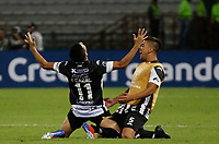 MANIZALES - COLOMBIA, 21-02-2019: Ivan Cazal del Santini celebra después el segundo gol de su equipo durante partido por la primera fase, llave 9, como parte de la Copa CONMEBOL Sudamericana 2019 entre Once Caldas de Colombia y Deportivo Santiní de Paraguay jugado en el estadio Palogrande de la ciudad de Manizalez. / Ivan Cazal of Santini celebrates after scoring the second goal of his team during match for the first phase, key 9, as part of Copa CONMEBOL Sudamericana 2019 between Once Caldas of Colombia and Deportivo Santini of Paraguay played at the Palogrande stadium in Manizales city. Photo: VizzorImage / Santiago Osorio / Cont