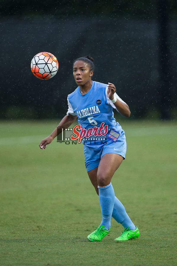 Maya Worth (5) of the North Carolina Tar Heels looks to control the ball during first half action against the Wake Forest Demon Deacons at Spry Soccer Stadium on September 27, 2015 in Winston-Salem, North Carolina.  The Tar Heels defeated the Demon Deacons 1-0.  (Brian Westerholt/Sports On Film)