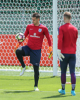 Goalkeeper Tom Heaton (left) (Burnley) of England who will start tomorrows friendly warms up with Goalkeeper Joe Hart (Manchester City) of England during an open England football team training session at Stade Omnisport, Croissy sur Seine, France  on 12 June 2017 ahead of England's friendly International game against France on 13 June 2017. Photo by David Horn/PRiME Media Images.