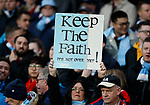 A Manchester City fan holds up a sign during the Champions League Quarter Final 2nd Leg match at the Etihad Stadium, Manchester. Picture date: 10th April 2018. Picture credit should read: David Klein/Sportimage