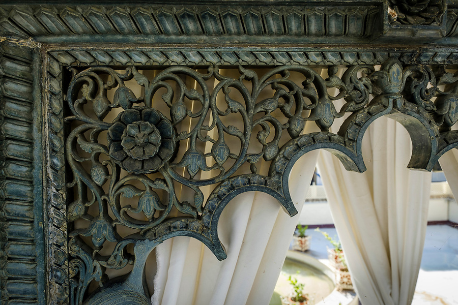 UDAIPUR, INDIA - CIRCA NOVEMBER 2016: Detail of intricate carvings of Jagmandir a luxury hotel in Lake Pichola, Udaipur