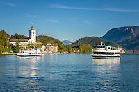 Austria, Upper Austria, Salzkammergut, St. Wolfgang at Lake Wolfgang with pilgrimage church St. Wolfgang | Oesterreich, Oberoesterreich, Salzkammergut, St. Wolfgang am Wolfgangsee mit der Wallfahrtskirche St. Wolfgang