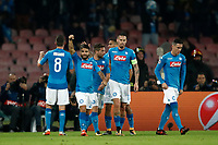 Football Soccer: UEFA Champions League Napoli vs Mabchester City San Paolo stadium Naples, Italy, November 1, 2017. <br /> Napoli's Jorginho (l) celebrates with his teammates after scoring during the Uefa Champions League football soccer match between Napoli and Manchester City at San Paolo stadium, November 1, 2017.<br /> UPDATE IMAGES PRESS/Isabella Bonotto