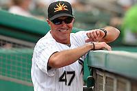 Mesa Solar Sox manager Joe McEwing #47 during an Arizona Fall League game against the Salt River Rafters at HoHoKam Park on November 4, 2011 in Mesa, Arizona.  Mesa defeated Salt River 12-10.  (Mike Janes/Four Seam Images)