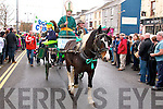 St Patrick arriving by horse and cart to the Castleisland St Patrick's Day parade on Monday