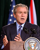 Thurmont, MD - March 27, 2003 -- United States President George W. Bush speaks as he and British Prime Minister Tony Blair meet reporters at Camp David, Maryland on March 27, 2003 following their talks on the progress of the Iraq War.<br /> Credit: Ron Sachs - CNP / Pool