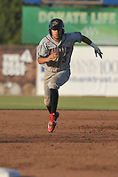 Quad Cities River Bandits Kristian Trompiz (3) runs during the Midwest League game against the Burlington Bees at Community Field on June 10, 2016 in Burlington, Iowa.  The Bees won 3-1.  (Dennis Hubbard/Four Seam Images)