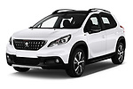 2019 Peugeot 2008 GT-Line 5 Door SUV Angular Front stock photos of front three quarter view