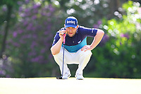 Brandon Grace eyes up his putt on the 16th green during the BMW PGA Golf Championship at Wentworth Golf Course, Wentworth Drive, Virginia Water, England on 27 May 2017. Photo by Steve McCarthy/PRiME Media Images.