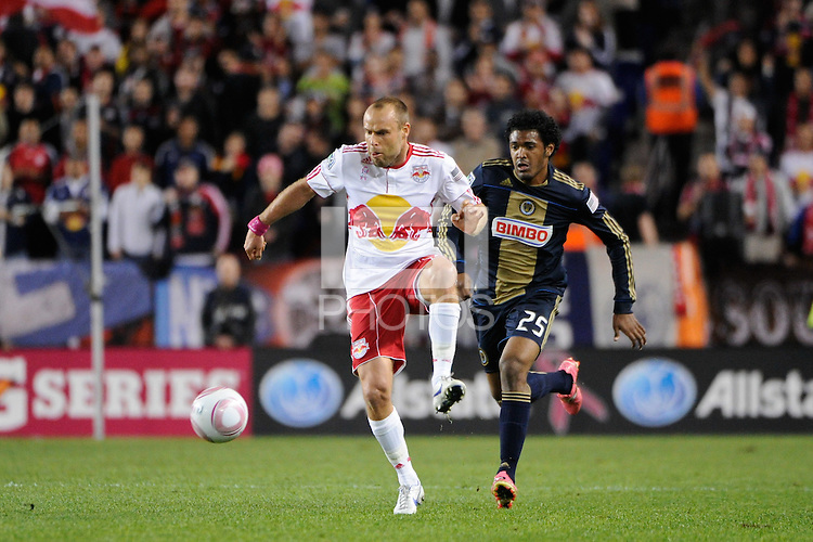 Joel Lindpere (20) of the New York Red Bulls plays the ball. The New York Red Bulls defeated the Philadelphia Union  1-0 during a Major League Soccer (MLS) match at Red Bull Arena in Harrison, NJ, on October 20, 2011.