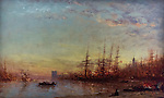 Port of Marseille at sunset by Felix Ziem (1821-1911)