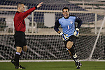 13 November 2009: Virginia goalkeeper Diego Restrepo celebrates after winning the penalty kick shootout. The University of Virginia Cavaliers defeated the Wake Forest University Demon Deacons 4-3 on penalty kicks after the game ended in a 0-0 tie after overtime at WakeMed Stadium in Cary, North Carolina in an Atlantic Coast Conference Men's Soccer Tournament Semifinal game.