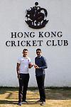Captain Babar Hayat of Hong Kong Team (L) and Captain Sohail Tanvir of Pakistan Team (R) pose for photo during the Hong Kong Cricket World Sixes 2017 Press Conference at Hong Kong Cricket Club on 27 October 2017, in Hong Kong, China. Photo by Yu Chun Christopher Wong / Power Sport Images
