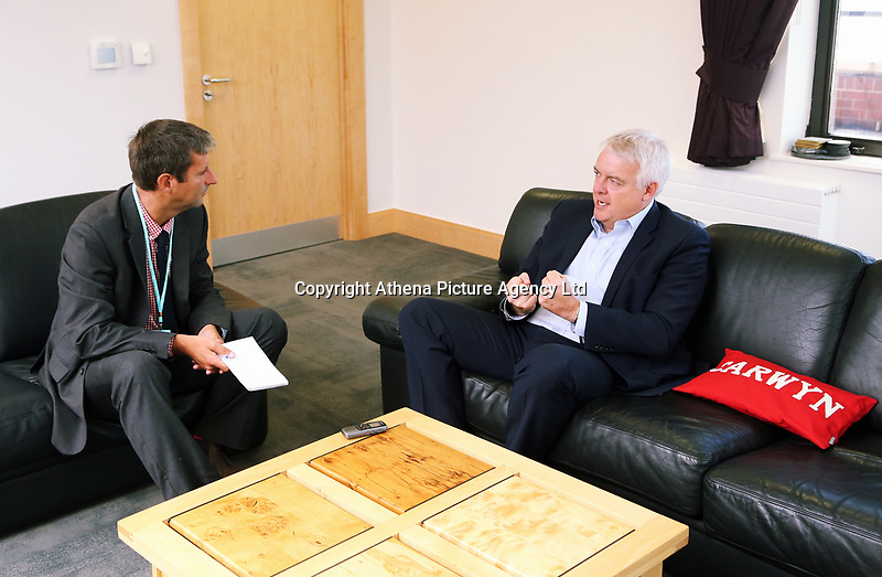 L-R Guardian reporter Steve Morris inteviews Mirst Minister for Wales Carwyn Jones in his office at the Ty Hywel building in Cardiff Bay, Wales, UK. Wednesday 13 September 2017