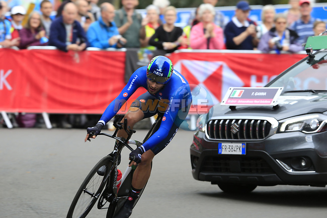 Filippo Ganna (ITA) in action during the Men Elite Individual Time Trial of the UCI World Championships 2019 running 54km from Northallerton to Harrogate, England. 25th September 2019.<br /> Picture: Eoin Clarke   Cyclefile<br /> <br /> All photos usage must carry mandatory copyright credit (© Cyclefile   Eoin Clarke)