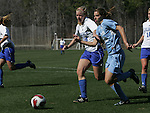 Duke's Kelly McCann (18) and North Carolina's Tobin Heath (98) challenge for the ball on Saturday, March 3rd, 2007 on Field 1 at SAS Soccer Park in Cary, North Carolina. The Duke University Blue Devils played the University of North Carolina Tarheels in an NCAA Division I Women's Soccer spring game.