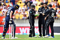 Blackcaps bowler Ish Sodhi celebrates the wicket of England's Jos Butler with his team mates during the Third ODI game between Black Caps v England, Westpac Stadium, Wellington, Saturday 03rd March 2018. Copyright Photo: Raghavan Venugopal / © www.Photosport.nz 2018