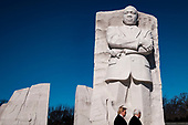 United States President Donald J. Trump and US Vice President Mike Pence visit the Martin Luther King Jr. Memorial on Monday, January 21, 2019 in Washington, DC. They placed a wreath to commemorate the slain civil rights leader. <br /> Credit: Pete Marovich / Pool via CNP