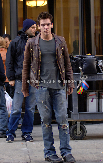 "WWW.ACEPIXS.COM . . . . .  ....NEW YORK, MARCH 8, 2006....Jonathan Rhys Meyers filming on the set of ""August Rush"".....Please byline: BRETT KAFFEE-ACEPIXS.COM.... *** ***..Ace Pictures, Inc:  ..Philip Vaughan (212) 243-8787 or (646) 769 0430..e-mail: info@acepixs.com..web: http://www.acepixs.com"