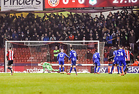 Sheffield United's forward Leon Clarke (9)  shot deflected into the far side of he goal during the Sky Bet Championship match between Sheff United and Cardiff City at Bramall Lane, Sheffield, England on 2 April 2018. Photo by Stephen Buckley / PRiME Media Images.