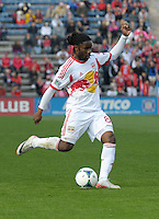 New York forward Peguy Luyindula (88) shoots the ball.  The Chicago Fire defeated the New York Red Bulls 3-1 at Toyota Park in Bridgeview, IL on April 7, 2013.