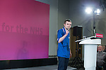 © Joel Goodman - 07973 332324 . 27/01/2015 . Sale , UK . Nurse DANIEL MERIDITH , who works in Greater Manchester , speaks ahead of Ed Miliband . Labour Party Leader , Ed Miliband , delivers a speech on the NHS at The Life Centre in Sale , Greater Manchester . Today (27th January 2015) marks 100 days until the General Election in the UK . Photo credit : Joel Goodman